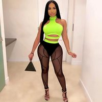 Women's Tracksuits Sexy Two Piece Set Women Clothing Sets Rave Festival Party Club Outfits For Halter Crop Tops And Mesh Sheer Leggings