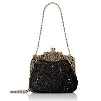 Neue Ankunft Womens Antique Perlen Party Clutch Vintage Rose Geldbörse Abendhandtasche