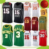 Stephen 30 Curry NCAA College Basketball Jerseys Lebron 23 James Kawhi 15 Leonard Wade Allen 3 Iverson Davidson Wildcats Texas University Kevin 35 Durant Stock 2021