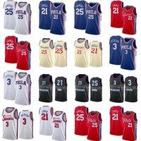 Philadelphianba76ersSixer Basketball Jerseys Joel 21 Embiid Ben 25 Simmons  Allen 3 Iverson men high quality 2021 city red blue black white stitched jerseys