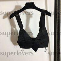 Sexy Outdoor BH Top Damen Flut Reißverschluss Design Tanks Mode Buchstaben Muster Black Beach Tops