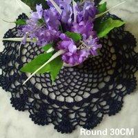 Mats & Pads 30CM Round Vintage Cotton Placemat Cup Mug Wedding Drink Table Place Mat Cloth Lace Crochet Tea Coffee Doily Dish Pad