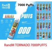 Original Randm Tornado 7000 퍼프 일회용 vape 펜 전자 담배 14ml 포드와 메쉬 코일 6 빛나는 색상 충전식 공기 조절 가능 5 % 장치 기화기