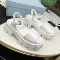 Mulheres Sandálias CloudBust Couro Real Gancho de Couro Gancho e Loop Fastener Aumentar Alta Plataforma Monolith Sandal Trovão Grosso Botão Saltos de Borracha Flip Flop Shoes # 2021 #