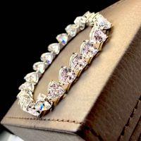 HBP Amor Pulsera Femenino S925 Pure Plateado Pollado 18K Oro Diamante completo Alto Carbono Alto Carbono Pulsera en forma de corazón Simulación