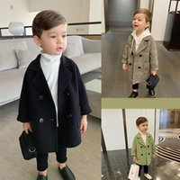 Clothing Sets Winter Grid Jackets Boys Solid Woolen Double-breasted Baby Boy Trench Coat Lapel Kids Outerwear Coats Wool Overcoat