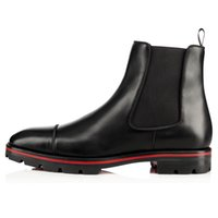 Luxury Designer Melon Spikes Man Ankle Boot Black Genuine Leather Calfskin Lug Sole Red Bottom Boots Men Fashion Booty Famous Party Wedding