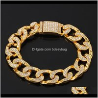 Bracelets Jewelryhip-Hop Cubas Bracelet Crystal Luxury For Man Fashion Jewelry Heavy Cool Rock Charm Wrist Pub Motorcycle Chain Drop Delivery