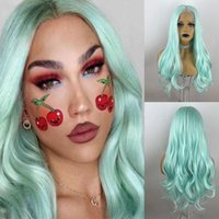 Perruques vertes à la menthe pour femmes Perruques à cheveux longues Perruques de cheveux naturels à la recherche de chaleur résistant à la chaleur respirant avec bébé synthétique