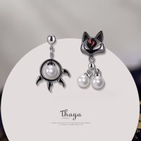 Thaya 925 стерлингов милая черная кошка лапы серьги японский стиль для женщин серебряные уха мода изысканные украшения