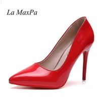 여성 섹시한 펌프 신발 10cm 누드 블랙 뾰족한 발가락 하이힐 10cm 파티 Prom 특허 가죽 뾰족한 210610 MQJQ