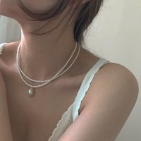 Party Wedding Noble Double Layer Beads Chain Romantic Choker Necklace Simulated Oval Pearl Necklace Fashion Jewelry