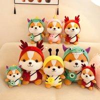 25 cm Niedliche Shiba Inu Puppe Eichhörnchen Plüsch Spielzeug Gefüllte Weiches Tier Corgi Chai Kissen Schöne Kreuz Kleid Plüsch Hund