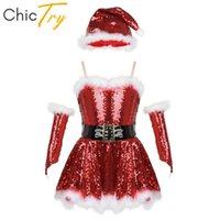 ChiCry Girls Pailletten Figur Eislauf Kleid Tutu Ballett Trikot Set Kinder Weihnachtsfeiertag Weihnachtsmann Santa Bühne Performance Tanz Kostüm Wear