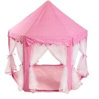 Princess Castle Play House Grande Tenda per bambini all'aperto per ragazze rosa blu 1,4 m Diametro 210t Pongee