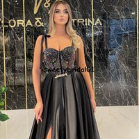 robe de soirée de mariage Sexy Split Black Party Dress Spaghetti Straps 2022 Beads Reception Evening Prom Gowns