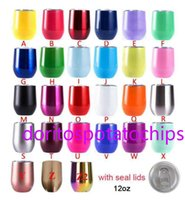 12oz Wine Tumbler Stainless Steel Beer Egg Shape Cup Double Wall Insulated Stemless Drinking Cups With Seal Lid Party Festival Gift