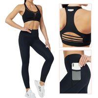 Yoga outfit أغنية يوليو امرأة مجموعة اللياقة البدنية الرياضية رياضة الملابس البدلة تجريب لارتفاع الخصر طماق جيب الرياضة الصدرية