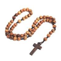 Joyería hecha a mano con cuentas de madera con cuentas de madera católicas Cristo Jesús cruzado collar religioso masculino y hembra cadena colgante