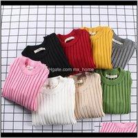 Одежда Детская родильная доставка доставки 2021 06 лет Baby Girls Cambure сплошной цвет малыша мальчики свитера весной осень теплые вязаные дети RIBB
