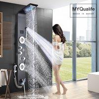 Black LED Light Shower Faucet Bathroom SPA Massage Jet Shower Column System Waterfall Rain Shower Panel Bidet Sprayer Tap
