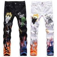 3D цвет печать мужской дизайнер разорвал тонкие растягивающие тонкие джинсы мужские прямые брюки ковбой знаменитый классический череп граффити Жана повседневные брюки