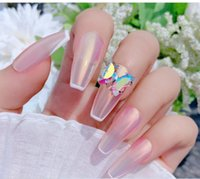 Nail Art Decorations 1pcs AB Clear Rhinestone Love Heart Shape Top Crooked Butterfly Crystal Flatback Elongated Glass Stones