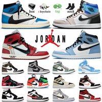 Com caixa ar jordan retro 1 sapatos de basquete fora do jumpman branco jorden 1s homens escuro mocha alta obsidiana torção mid familia destemido homens mulheres jordon sneakers treinadores