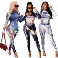 Femmes à manches longues Jumpsuits Designer Sexy Positionnement Imprimer Oneies Lady High Col Fermeture Zipper Casual Rompers AM12