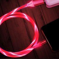 흐르는 빛 충전 자기 USB 유형 C 케이블 자기 케이블 USB 마이크로 충전기 케이블 와이어 3 유니버슬 포트