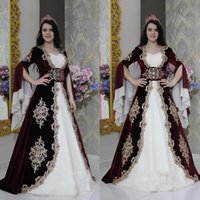 Elegant Arabic Burgundy And White Velour Morocco Kaftan Evening Dresses Lace Appliques 3 4 Flare Sleeves Islamic Dubai Prom Dress Long Formal Occasion Gowns