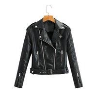 Women's Leather & Faux Autumn Women Pu Jacket Woman Zipper Belt Short Coat Female Black Punk Bomber Outwear Brand Coats