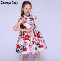 Vestidos de niña Kseniya Kids Summer Baby Girl Ropa Vestido de niñas Pink Flower Petal Fiesta para Bodas Niños Organza