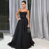 Spaghetti Black Sequined Evening Dresses Sweep Train Lace-up Back A Line Formal Prom Party Gowns