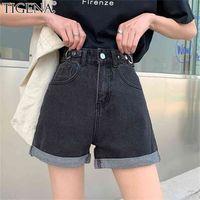 Tigena Alta Cintura Denim Shorts Mujeres Verano Casual All-Match Jeans Mujer con Bolsillo Blanco Negro 210714