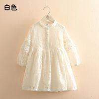 Vestidos de niña Primavera Otoño 3 4 6 8 10 a 12 años Niño Inglaterra Estilo Princesa Pearl Lace Longitud Kids Baby Girl Manga Larga Vestido C0228
