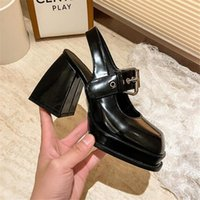 Chaussures robes femmes chunky talon plate-forme Mary Janes Petante Pompes Pompes Punk Style Square Toe Goth High Talons Y2K