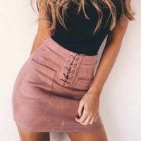 Spódnice Eleganckie Mini Spódnica Kobiety Skórzane Suede Lace Up Bandain High Waist Party Ołówek Krótki lato