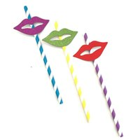 Packaging Dinner Service 10Pcs Colorful Striped Lips Sticker Paper Straws For Wedding Birthday Party Supplies Decor Drinking Straw Po Prop G