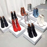 Boots 10 Color 34-42 Split Toe Genuine Cow Leather Ankle Women Round Chunky High Heels Short Shoes Ninja Tabi Boot
