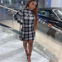 Casual Dresses ZOOEFFBB Aesthetic Butterfly Long Sleeve Mini Bodycon Dress One Piece Sexy Plaid Club Birthday Outfits For Women Lounge Wear