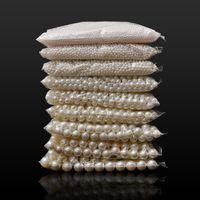 200 stücke Nachahmung Pearl Perlen 4/5/6/8/10mm großes gerades loch weiß / beige lose spacer perlen für schmuck machen diy bauteile 1507 v2