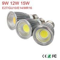 Ampuller 1 adet Dim GU10 / E27 E14 MR16 9 W 12 W 15 W COB AC85-265V / AC110V / 220 V / DC12V Yüksek Güç LED Işık