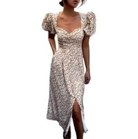 Casual Dresses Women Summer Floral Dress Adults Slim Fit Puff Sleeve V-Neck Slit With Button