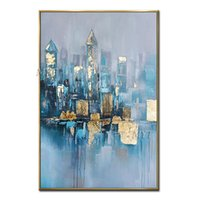 Blaue Stadt Abstract DiagranOil Malerei Wandkunst Wohnkulturbild Moderne Ölgemälde auf Leinwand 100% Handgemalt NO REAMED ZHL1642