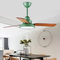Nordic Industrial Fan 220V 110V Деревянный потолок 42 дюйма Blade Blade Охлаждение Удаленное освещение светло-ресторан