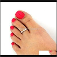 Drop Delivery 2021 Gold Love Letter Toe Rings For Women Simple Adjustable Finger Ring Fashion Foot Findings Body Jewelry U9Wyj