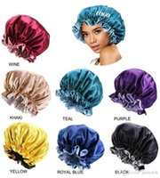 7 Colors New Silk Night hat Double Side Wear Women Head Cover Sleep Cap Satin Bonnet For Beautiful Hair Hairdressing Hat