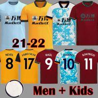 2021 2022 Raul Neves Wolves Soccer Jerseys Podence Adama Adulto Attrezzatura per bambini 20 21 22 Wolverhampton Camicie da calcio Doherty Men Kit Maillots de Piede