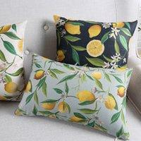 Obst Zitronenkissenbezüge grüne Pflanzen Zitronenbaum Blätter Blumen Kissenbezug Sofa Stuhl dekorative Leinen Baumwollkissenbezug